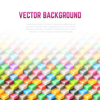 Fundo abstrato geométrico vector com cubos 3d