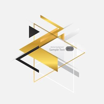 Fundo abstrato geométrico vector de ouro com triângulos