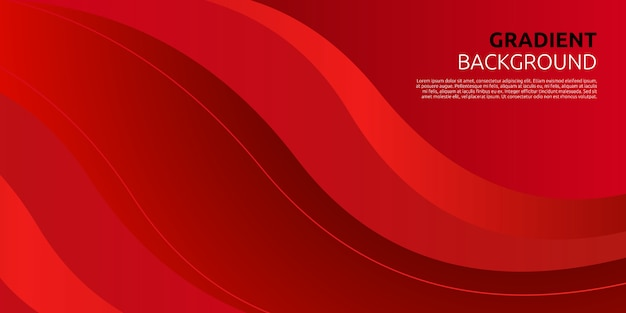 Fundo abstrato gradiente vermelho curva