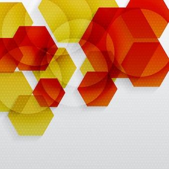 Fundo abstrato hexagonal em cor vermelha e amarela.