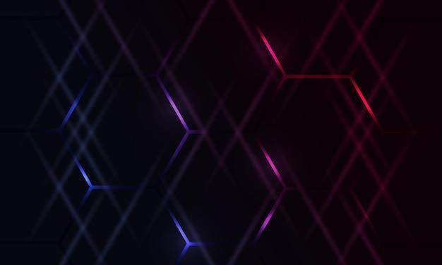 Fundo abstrato hexagonal escuro para jogos com flashes brilhantes coloridos em azul e rosa