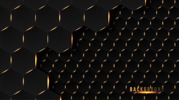 Fundo abstrato hexágono dourado escuro