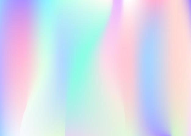 Fundo abstrato holográfico. cenário holográfico futurista com malha de gradiente. estilo retro dos anos 90, 80. modelo gráfico pearlescent para folheto, banner, papel de parede, tela do celular.