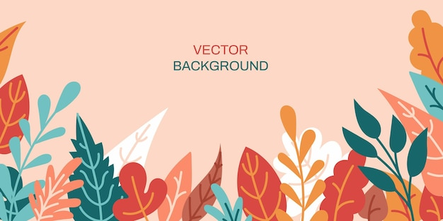 Fundo abstrato horizontal de vetor com folhas coloridas de outono cartaz de banner vibrante brilhante