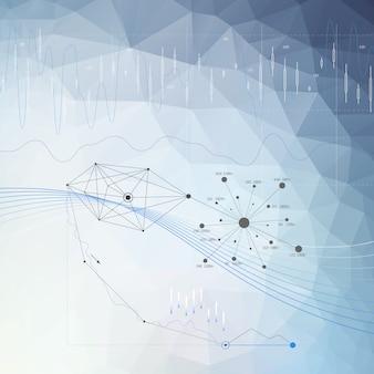 Fundo abstrato infográfico de cor azul