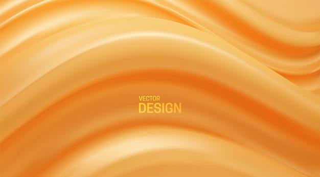 Fundo abstrato laranja com forma ondulada elástica suave