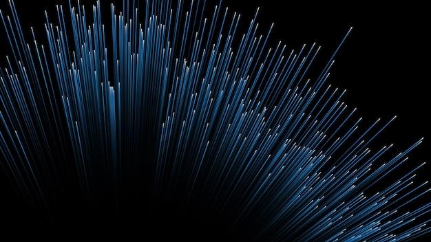 Fundo abstrato. linhas compostas de brilhando em fundo preto
