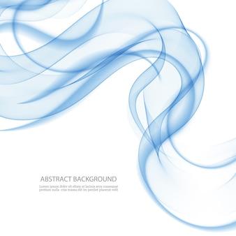 Fundo abstrato, linhas onduladas transparentes azuis. onda de fumaça azul.
