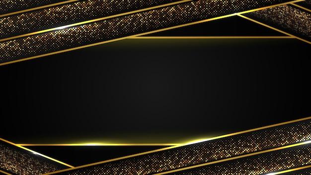 Fundo abstrato luxo preto da linha ouro escuro e brilho