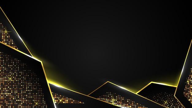Fundo abstrato luxo preto do triângulo de papel ouro escuro e brilho dourado, elegante premium, modelo de layout de capa