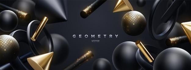 Fundo abstrato luxuoso de formas geométricas pretas e douradas fluidas com brilhos cintilantes