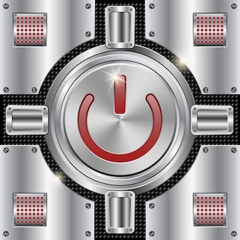 Fundo abstrato metálico vector com botão de parada