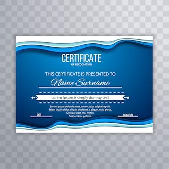 Fundo abstrato modelo de certificado azul