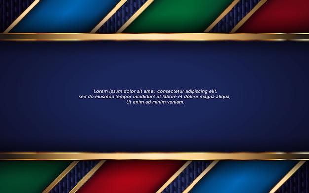 Fundo abstrato modelo de luxo com cores azul, verde e vermelho