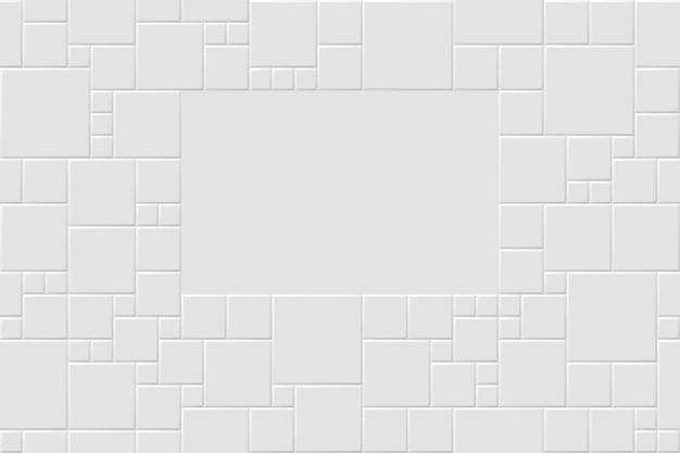 Fundo abstrato moderno branco de vetor com padrão de azulejos quadrados de esteira cinza claro. textura de mosaico sem costura com espaço para texto. ilustração 3d realista.