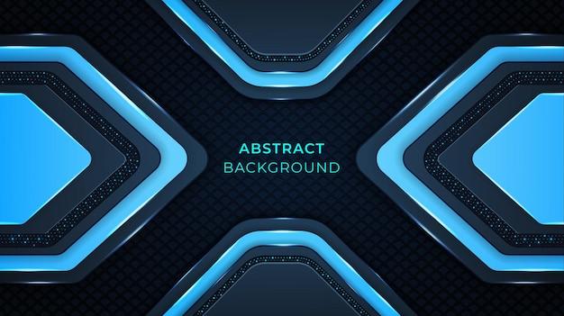 Fundo abstrato moderno com formas de cor ciano, padrões, luzes e efeito de brilho em um fundo azul escuro
