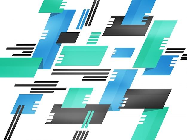 Fundo abstrato moderno com padrão arquitetônico geométrico em cores verdes, azuis e cinzas.