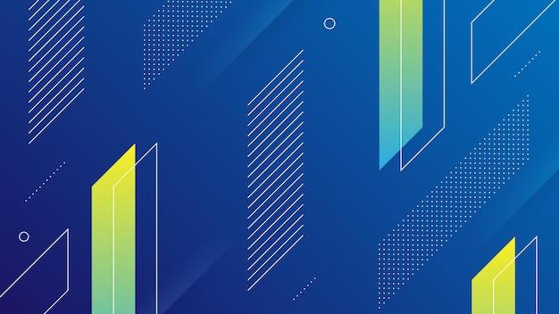 Fundo abstrato moderno com vibrance azul escuro e gradiente de cor neon e elemento memphis