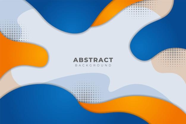 Fundo abstrato moderno, forma de fluido dinâmico minimalista, azul e laranja