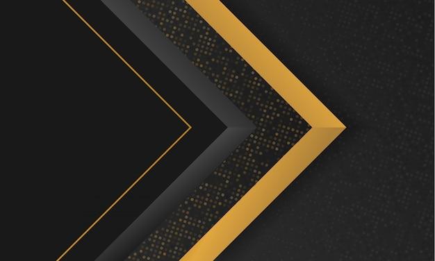 Fundo abstrato moderno preto e dourado forma geométrica de luxo
