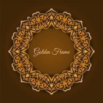 Fundo abstrato moldura dourada de luxo