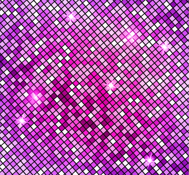 Fundo abstrato mosaico rosa brilhante. mosaico brilhante no estilo bola de discoteca. fundo prateado luzes de discoteca. fundo abstrato