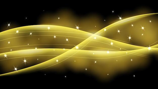 Fundo abstrato onda brilhante com estrelas, brilhos e efeitos de glitter. ilustração vetorial
