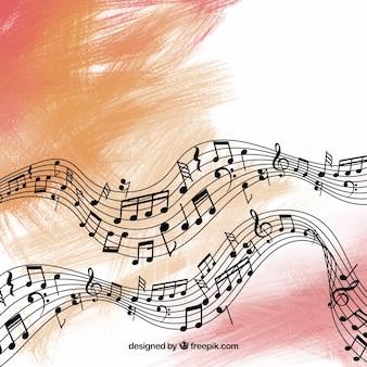 Fundo abstrato pentagram e notas musicais