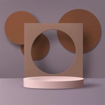 Fundo abstrato. pódio 3d geométrico com cena roxa e marrom. vetor