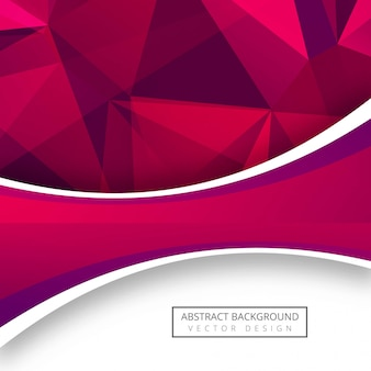 Fundo abstrato polígono-de-rosa com design de onda