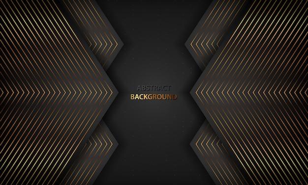 Fundo abstrato preto com linhas douradas. conceito de luxo moderno.