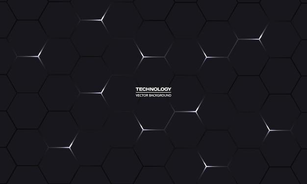 Fundo abstrato preto de tecnologia hexagonal