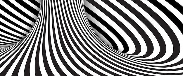 Fundo abstrato preto e branco de listras onduladas.