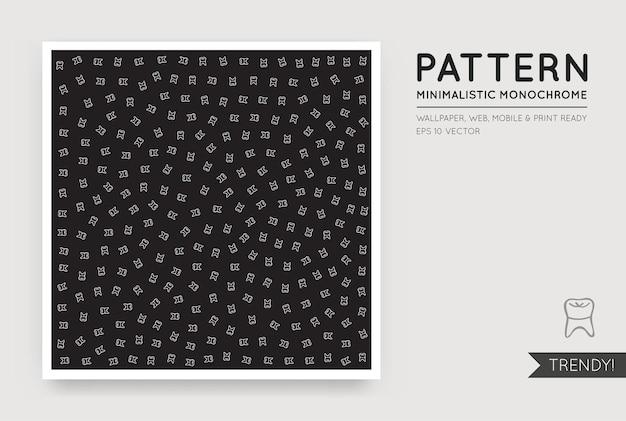 Fundo abstrato preto vetorial com figuras monocromáticas brancas aleatórias e sem costura