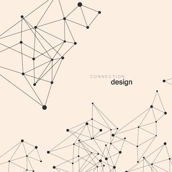 Fundo abstrato rede com pontos e linhas. estrutura de conexão geométrica