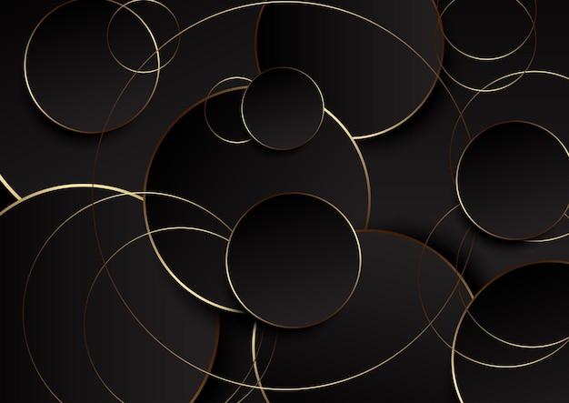 Fundo abstrato retrô com desenho de círculos dourados e pretos Vetor Premium