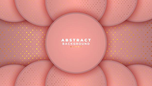 Fundo abstrato rosa com decoração de elemento de pontos de brilhos dourados