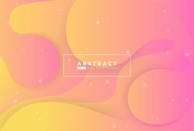 Fundo abstrato rosa e amarelo com elementos de memphis