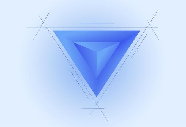 Fundo abstrato simples com ilustração vetorial de papel de parede azul simples de estilo 3d triangular
