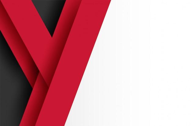 Fundo abstrato sobreposição geométrica vermelho-preto e branco