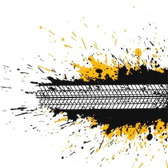 Fundo abstrato splatter com trilha de pneu