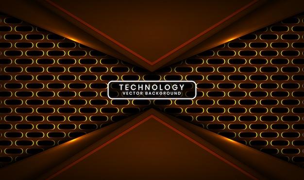 Fundo abstrato tecnologia 3d escuro com camada metálica oval, sobreposição com decoração de efeito de luz amarela