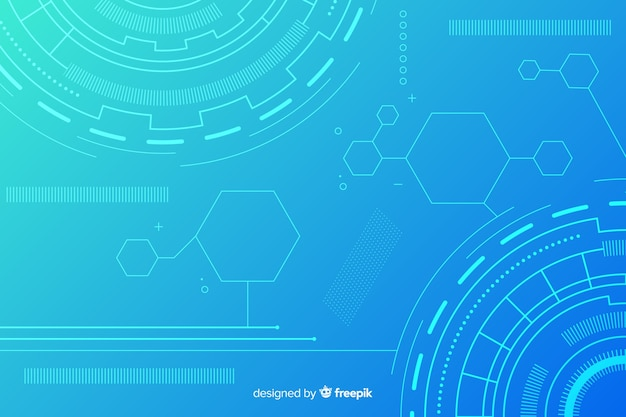 Fundo abstrato tecnologia azul hud