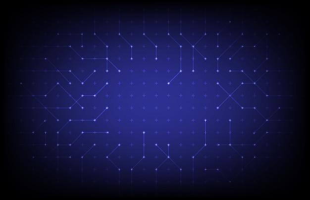 Fundo abstrato tecnologia de pontos de linha de conexão azul