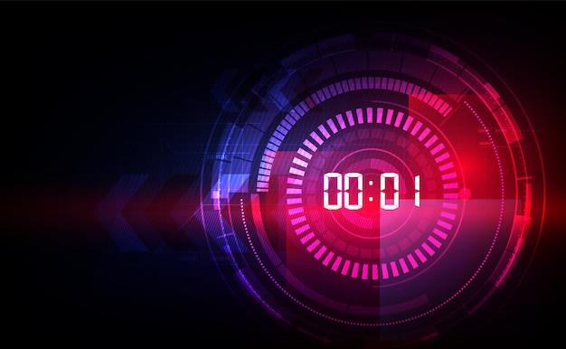 Fundo abstrato tecnologia futurista com tempo numérico digital
