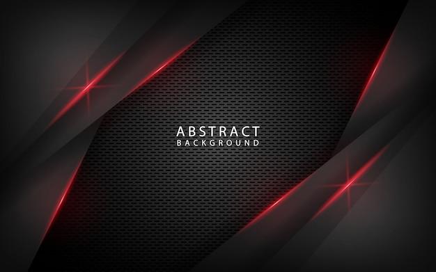 Fundo abstrato tecnologia preto com efeito metálico vermelho