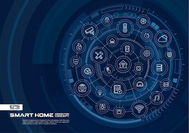 Fundo abstrato tecnologia. sistema de conexão digital com círculos integrados, ícones brilhantes de linhas finas. conceito de interface de realidade virtual e aumentada. futura ilustração infográfico