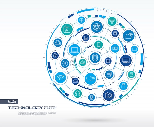 Fundo abstrato tecnologia. sistema de conexão digital com círculos integrados, ícones brilhantes de linhas finas. grupo de sistema de rede, conceito de interface de toque. futura ilustração infográfico