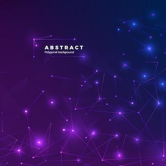 Fundo abstrato tecnológico. partículas, pontos e conectados por linhas. textura baixa poligonal. ilustração de fundo azul e roxo