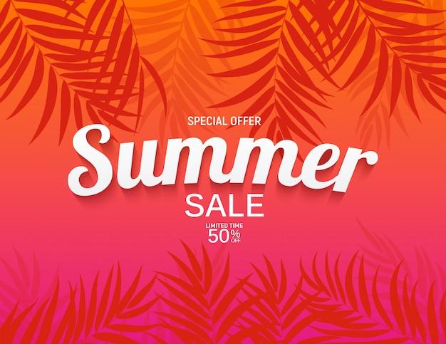 Fundo abstrato venda de verão com ilustração de folhas de palmeira